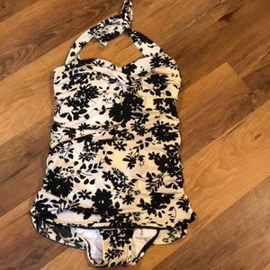 Lands End retro style one piece swimsuit